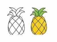 简笔画:菠萝图片