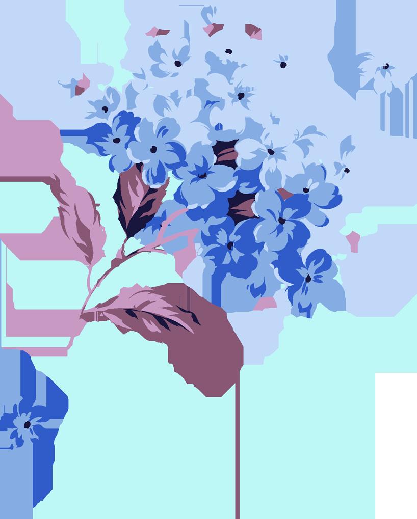 蓝色手绘丁香花