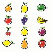 可爱卡通日韩光泽手绘简笔画水果图标