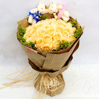 香槟玫瑰花束包装图片