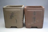 君子兰紫砂花盆图片