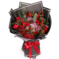 红玫瑰花束图片韩式
